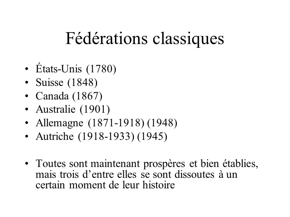 Fédérations classiques