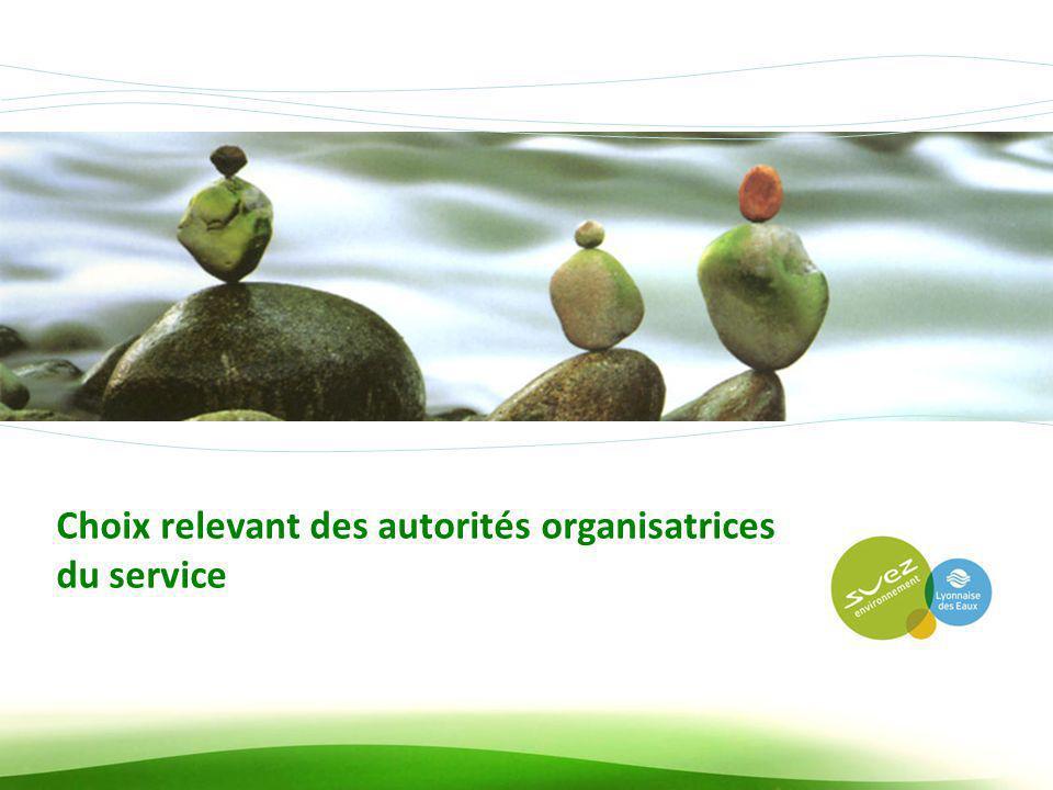 Choix relevant des autorités organisatrices du service