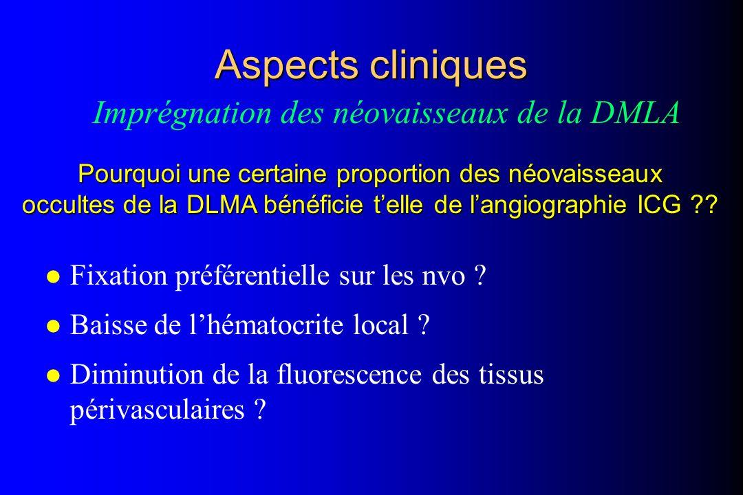 Aspects cliniques Imprégnation des néovaisseaux de la DMLA