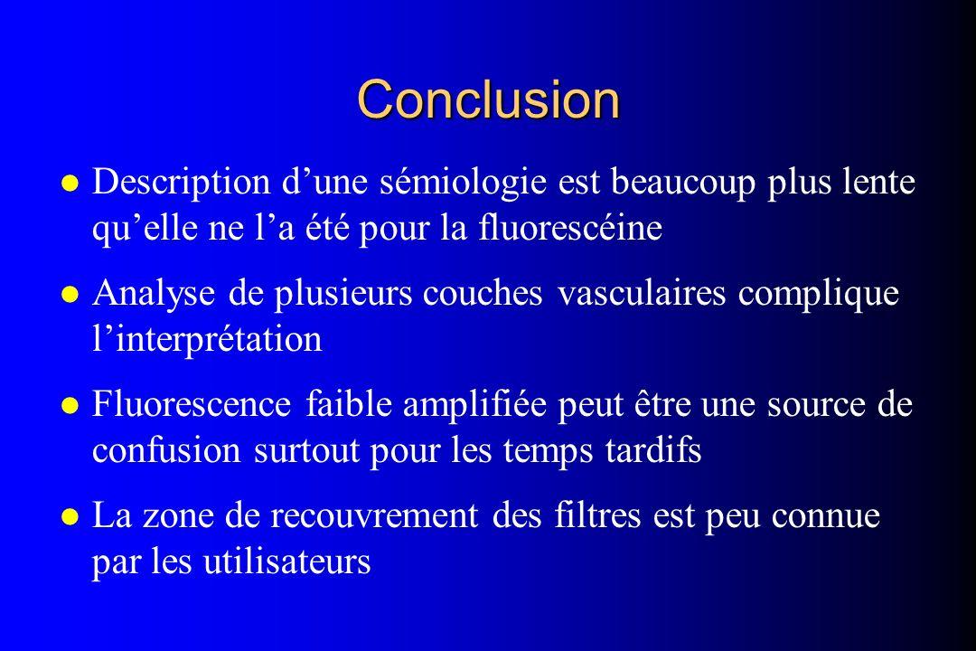 Conclusion Description d'une sémiologie est beaucoup plus lente qu'elle ne l'a été pour la fluorescéine.