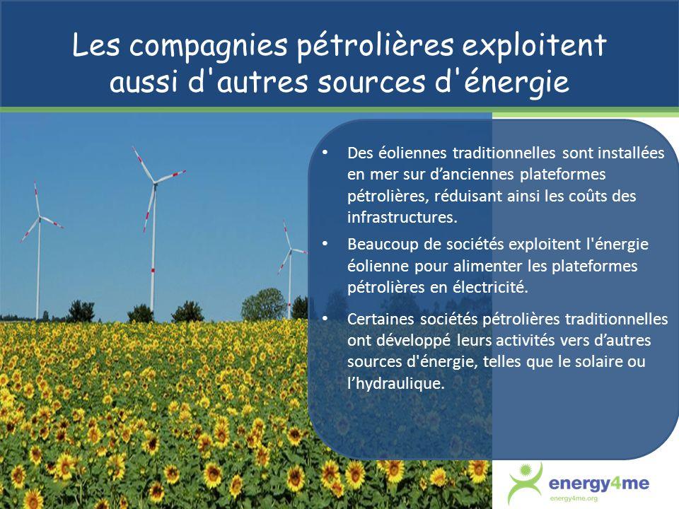 Les compagnies pétrolières exploitent aussi d autres sources d énergie