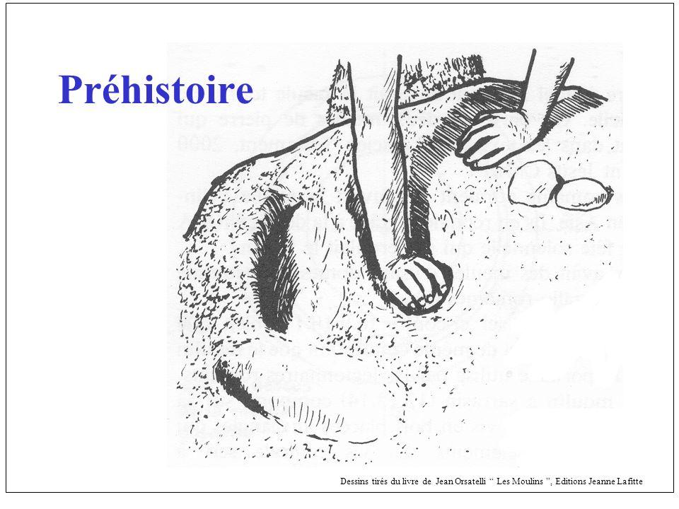 Préhistoire Dessins tirés du livre de Jean Orsatelli Les Moulins , Editions Jeanne Lafitte