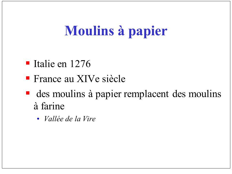 Moulins à papier Italie en 1276 France au XIVe siècle