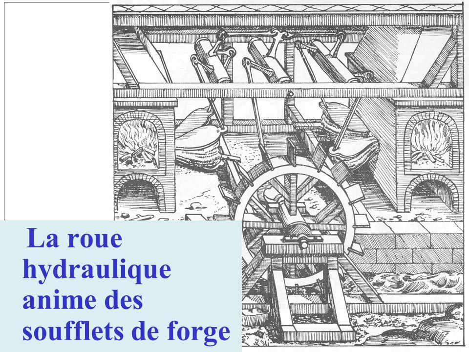 La roue hydraulique anime des soufflets de forge