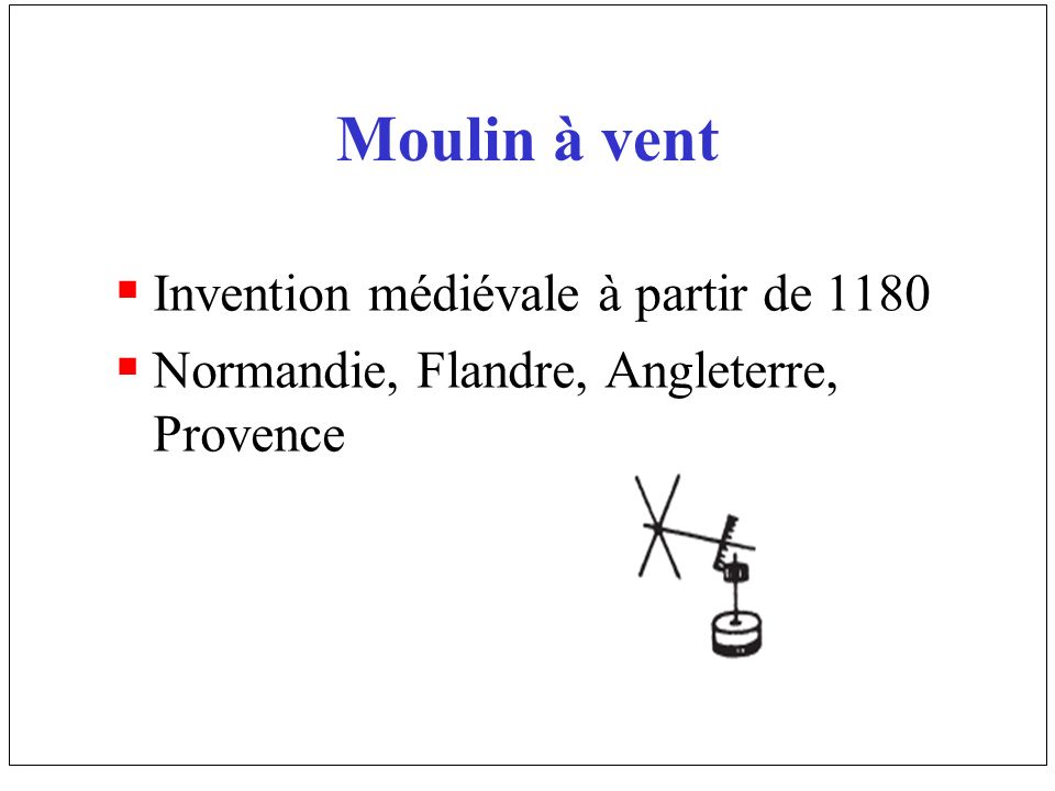 Moulin à vent Invention médiévale à partir de 1180