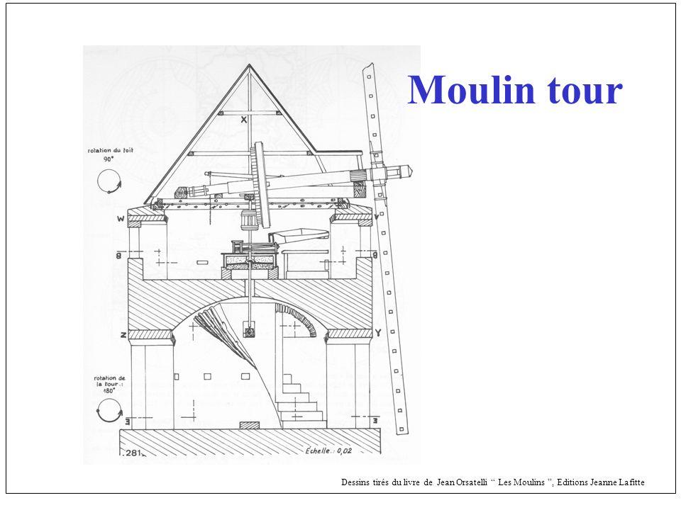 Moulin tour Dessins tirés du livre de Jean Orsatelli Les Moulins , Editions Jeanne Lafitte