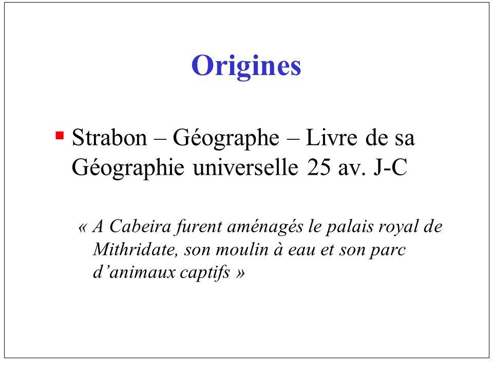 OriginesStrabon – Géographe – Livre de sa Géographie universelle 25 av. J-C.