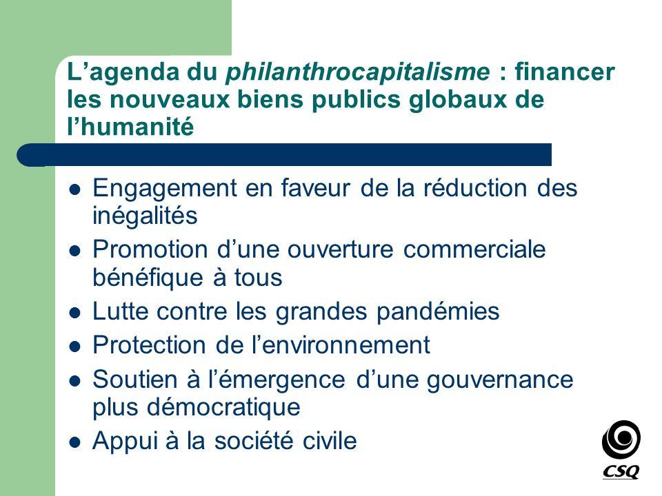 L'agenda du philanthrocapitalisme : financer les nouveaux biens publics globaux de l'humanité