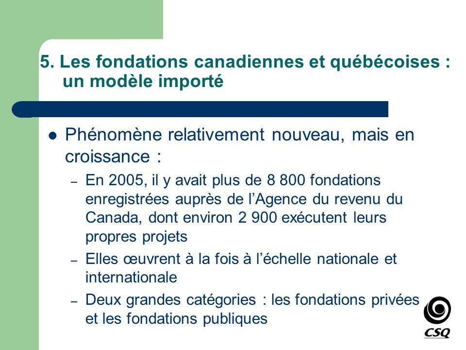 5. Les fondations canadiennes et québécoises : un modèle importé