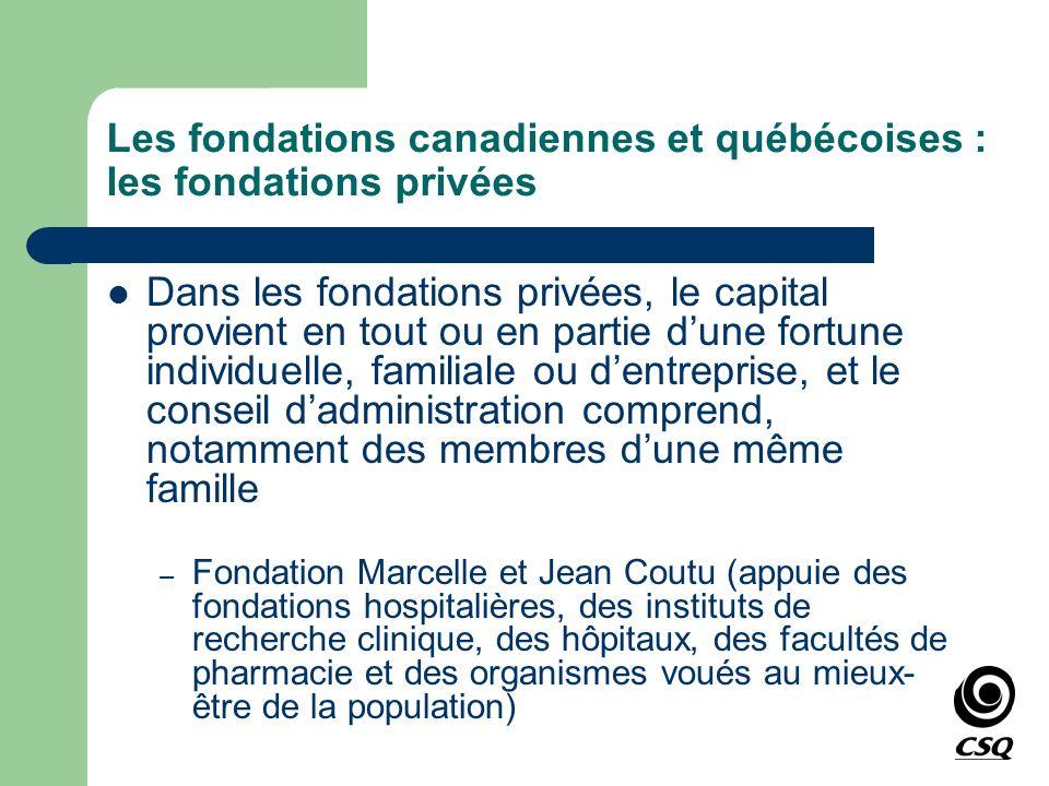 Les fondations canadiennes et québécoises : les fondations privées