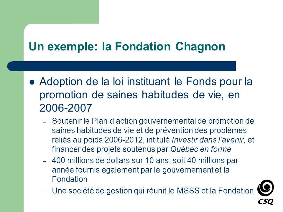 Un exemple: la Fondation Chagnon