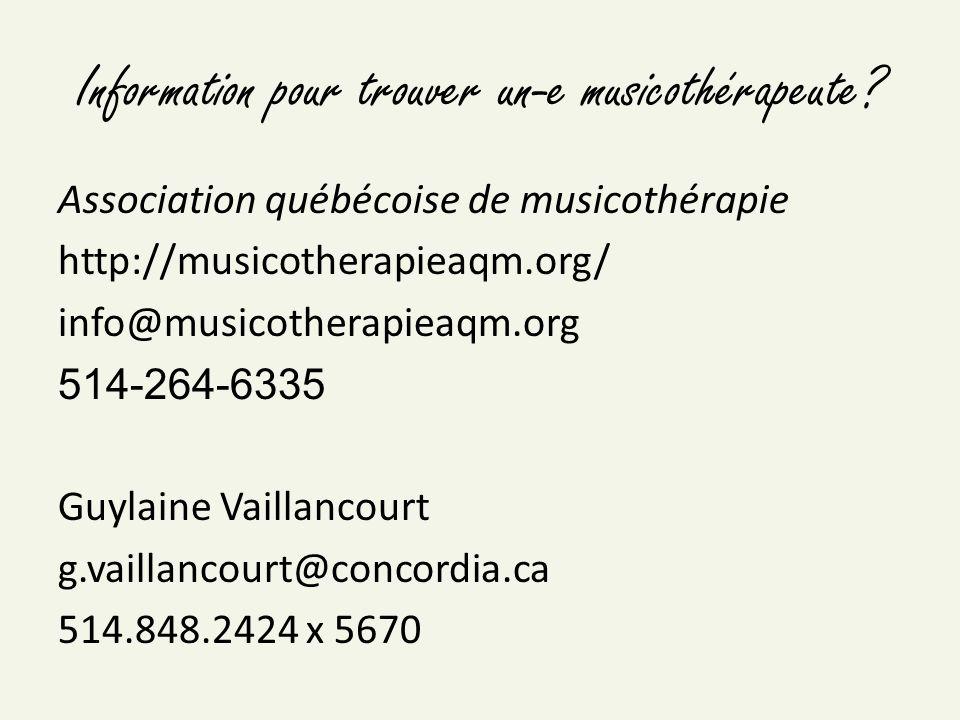 Information pour trouver un-e musicothérapeute