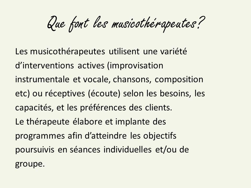 Que font les musicothérapeutes