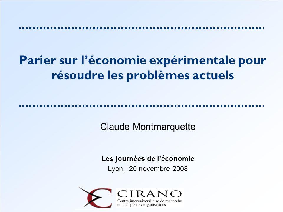 Claude Montmarquette Les journées de l'économie Lyon, 20 novembre 2008