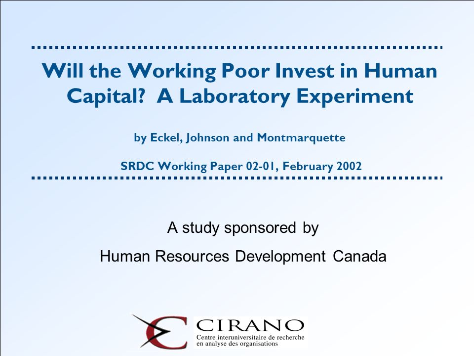 A study sponsored by Human Resources Development Canada