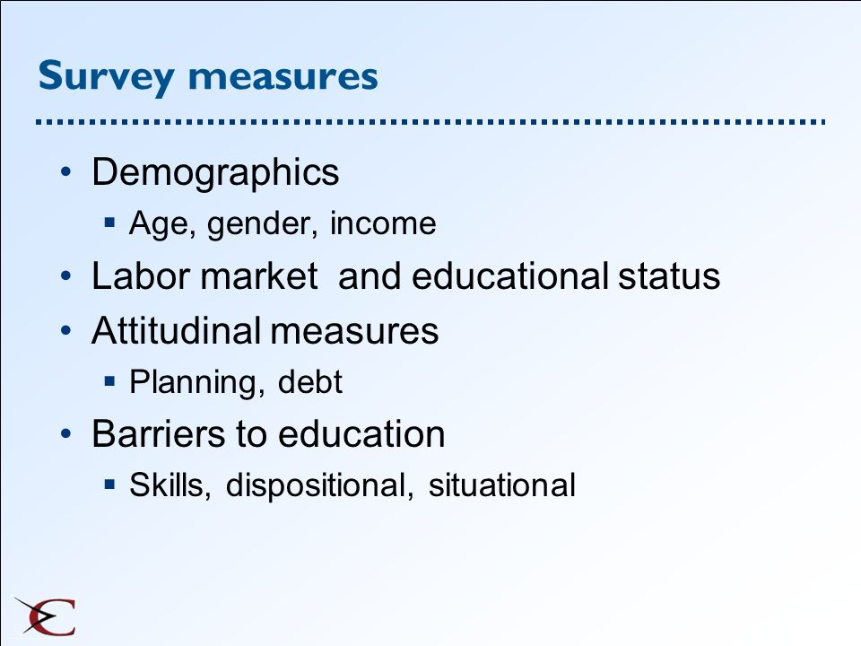 Survey measures Demographics Labor market and educational status
