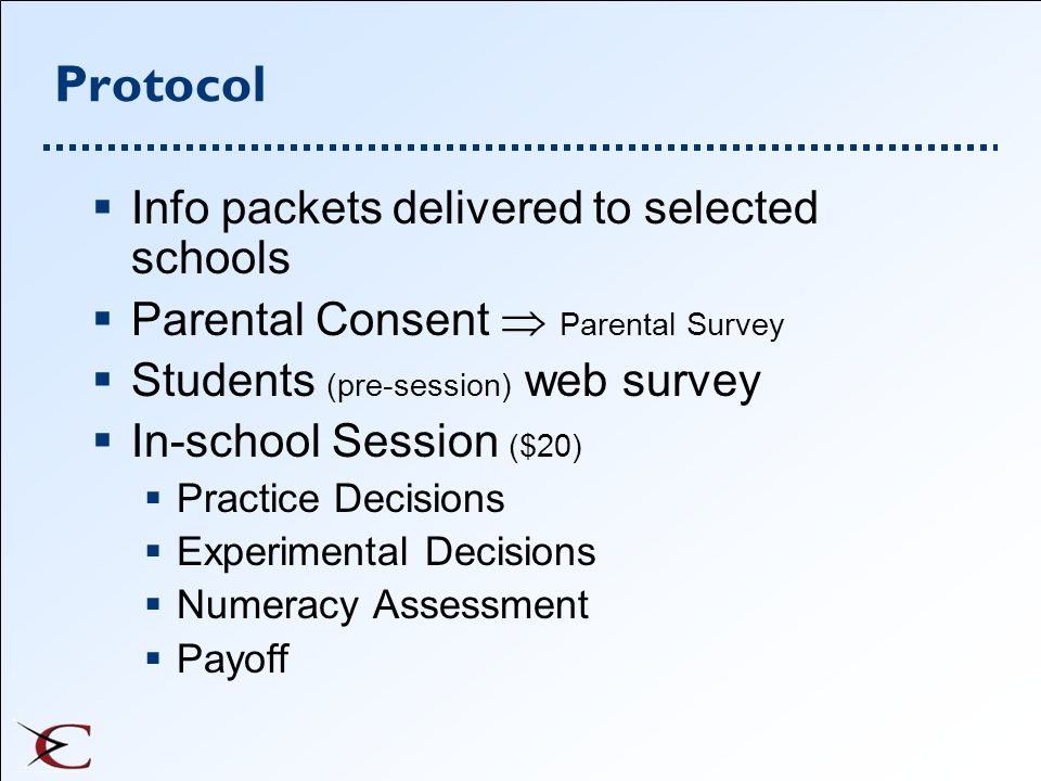 Protocol Info packets delivered to selected schools