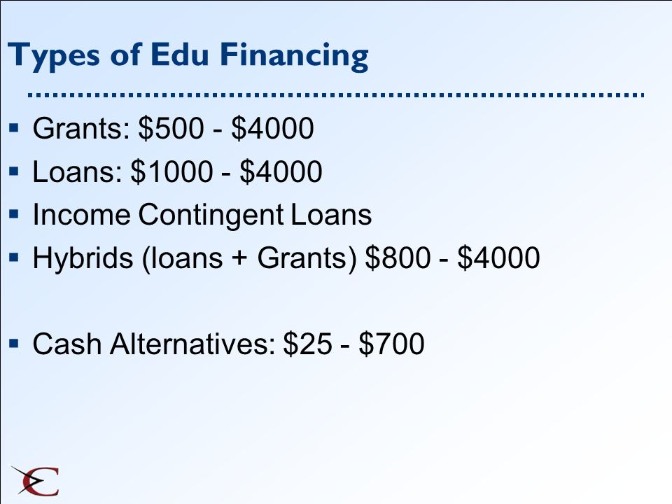 Types of Edu Financing Grants: $500 - $4000 Loans: $ $4000