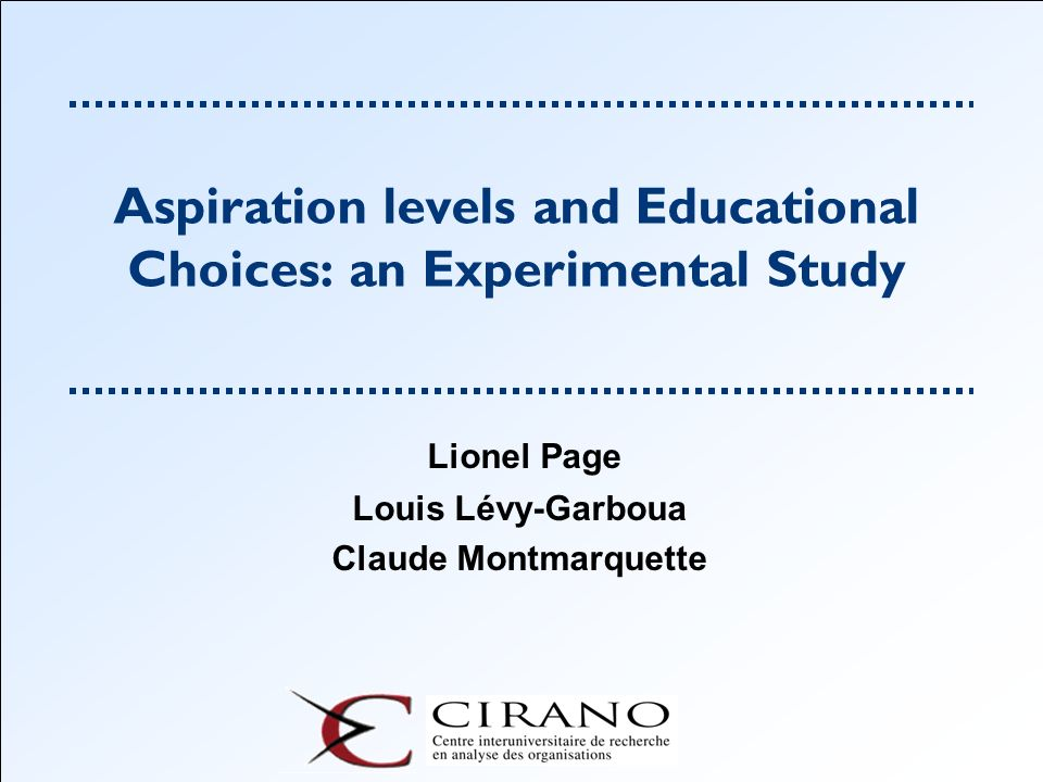 Aspiration levels and Educational Choices: an Experimental Study