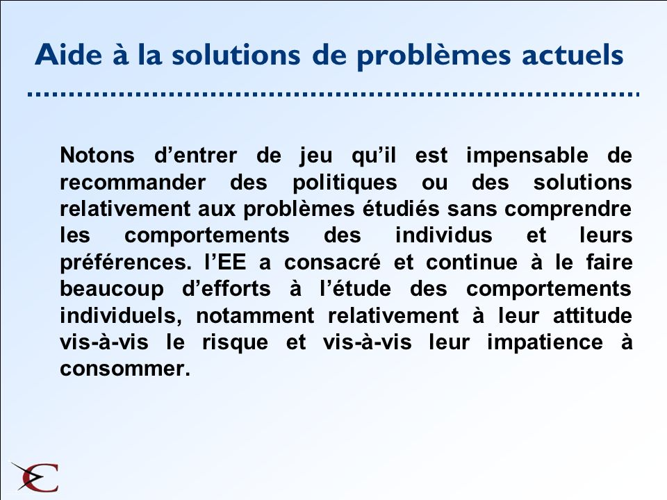 Aide à la solutions de problèmes actuels