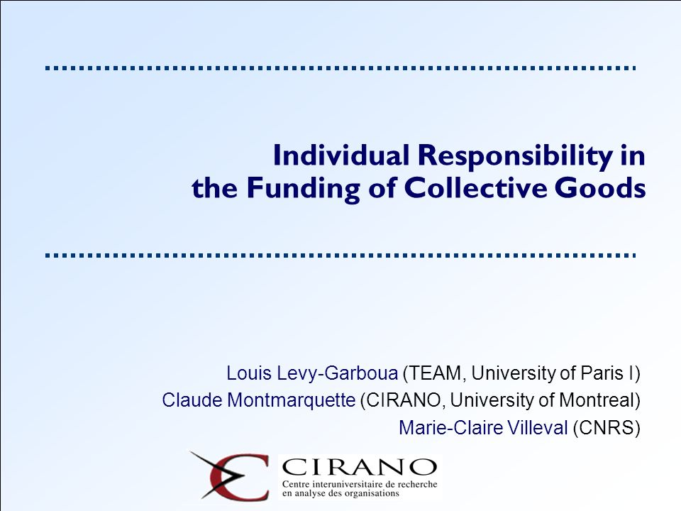 Individual Responsibility in the Funding of Collective Goods