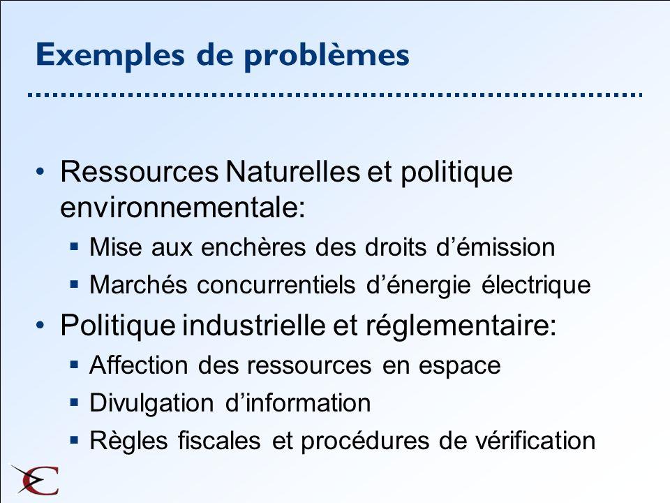 Exemples de problèmes Ressources Naturelles et politique environnementale: Mise aux enchères des droits d'émission.