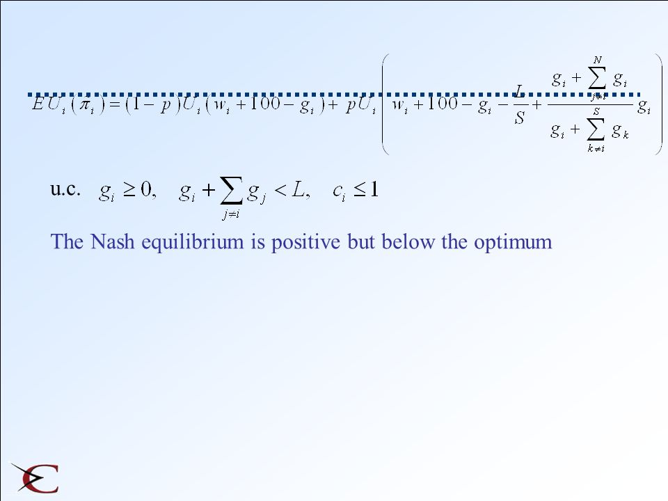 u.c. The Nash equilibrium is positive but below the optimum