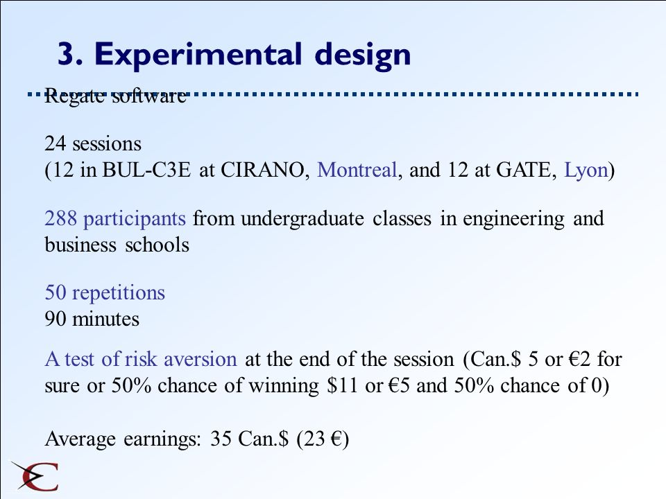 3. Experimental design Regate software 24 sessions