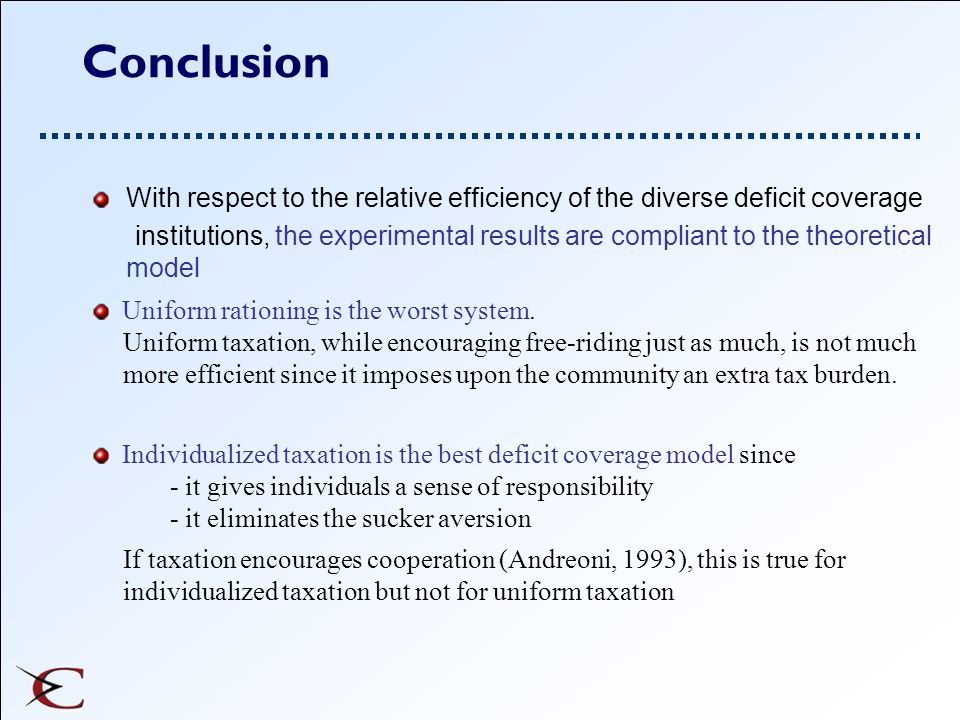 Conclusion With respect to the relative efficiency of the diverse deficit coverage.