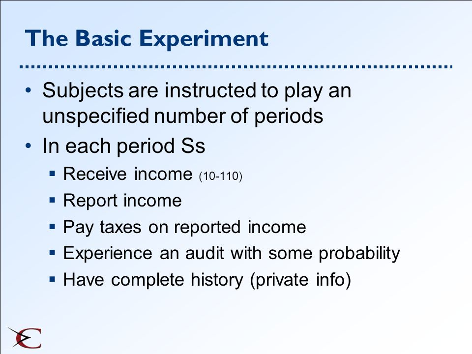 The Basic Experiment Subjects are instructed to play an unspecified number of periods. In each period Ss.