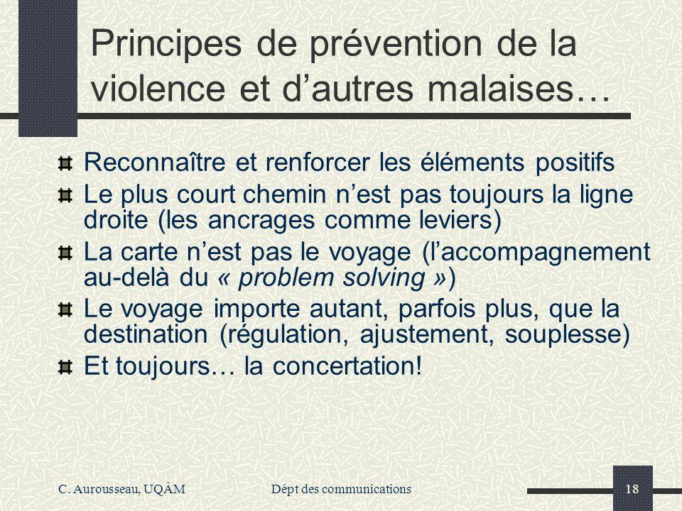 Principes de prévention de la violence et d'autres malaises…