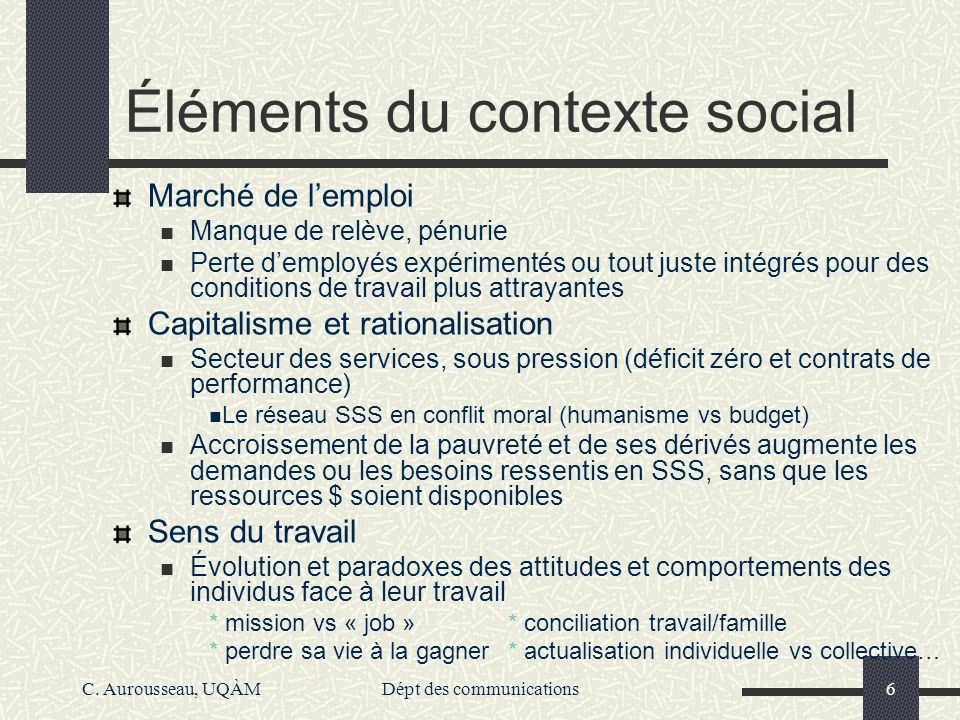 Éléments du contexte social