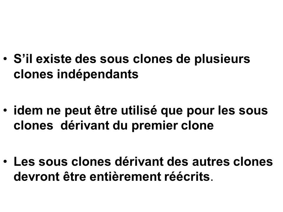 S'il existe des sous clones de plusieurs clones indépendants