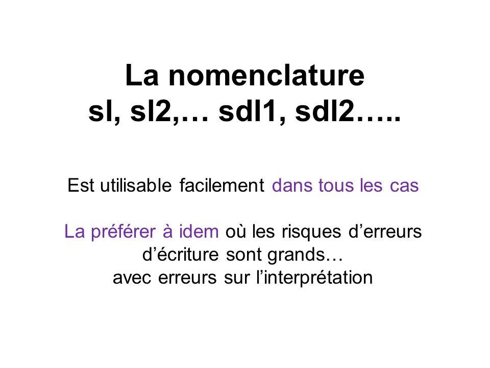 La nomenclature sl, sl2,… sdl1, sdl2…..