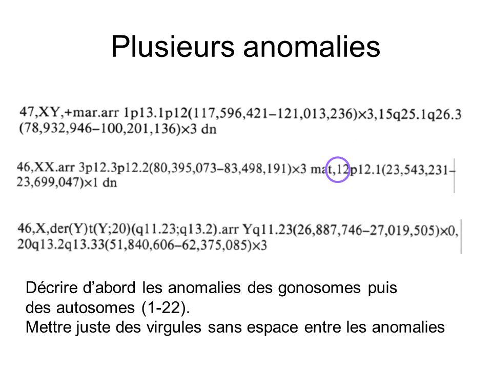 Plusieurs anomalies Décrire d'abord les anomalies des gonosomes puis