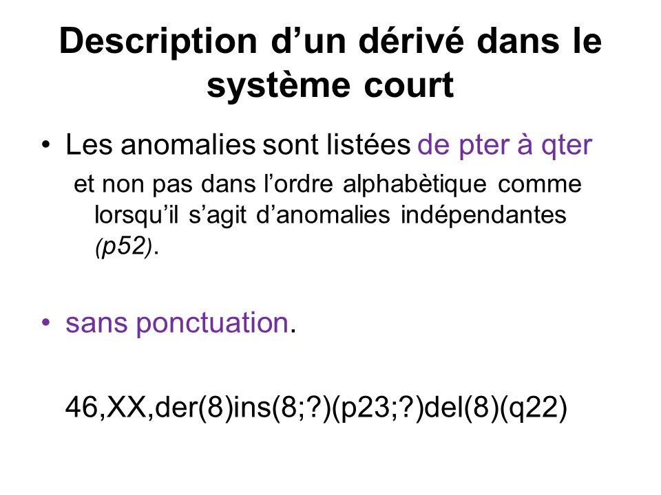 Description d'un dérivé dans le système court
