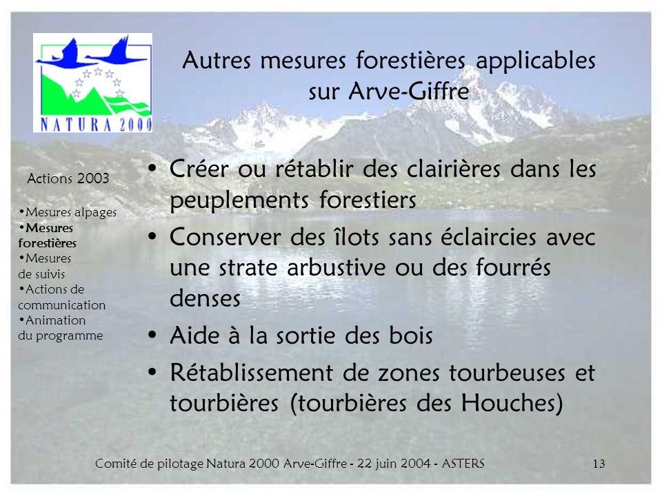 Autres mesures forestières applicables sur Arve-Giffre