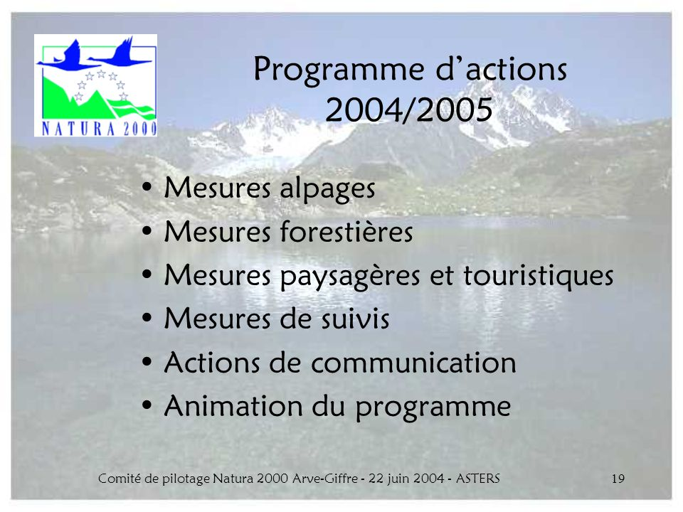 Comité de pilotage Natura 2000 Arve-Giffre - 22 juin 2004 - ASTERS