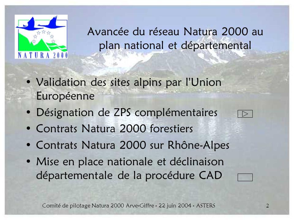 Avancée du réseau Natura 2000 au plan national et départemental