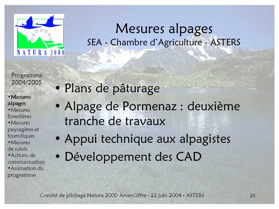 Mesures alpages SEA - Chambre d'Agriculture - ASTERS