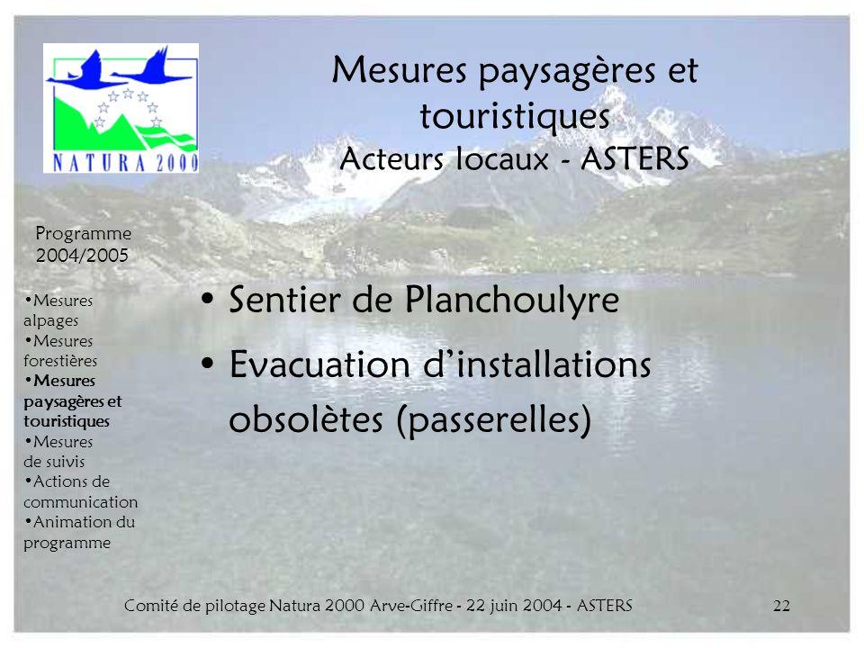 Mesures paysagères et touristiques Acteurs locaux - ASTERS
