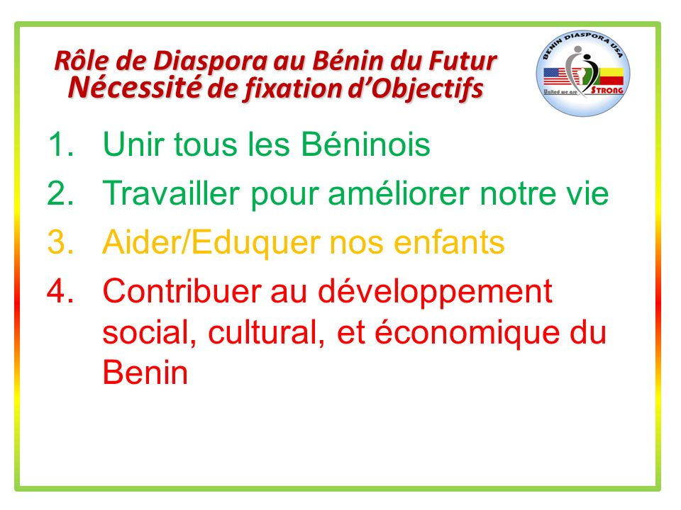 Rôle de Diaspora au Bénin du Futur Nécessité de fixation d'Objectifs