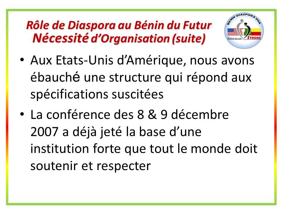 Rôle de Diaspora au Bénin du Futur Nécessité d'Organisation (suite)