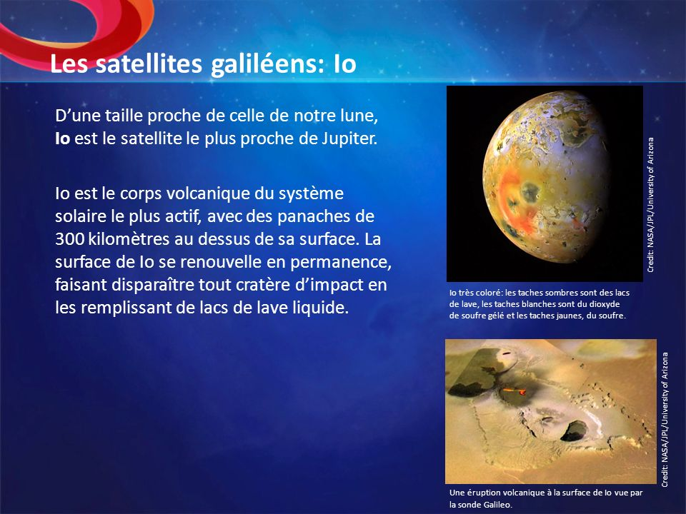 Les satellites galiléens: Io