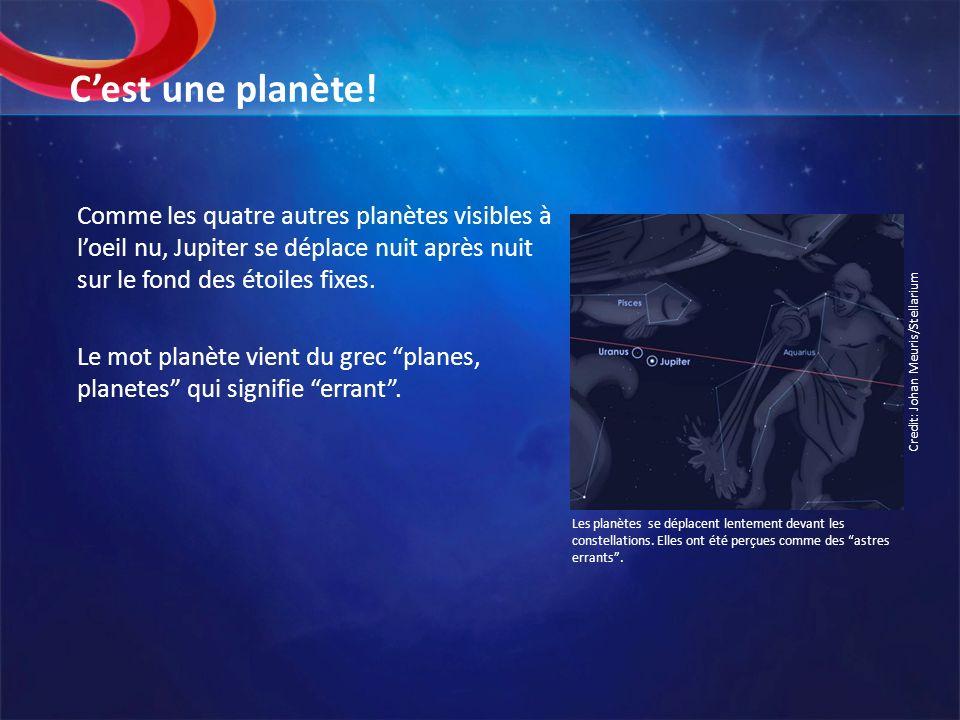 C'est une planète!Comme les quatre autres planètes visibles à l'oeil nu, Jupiter se déplace nuit après nuit sur le fond des étoiles fixes.