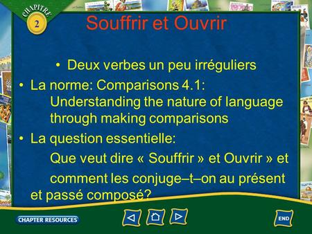2 Souffrir et Ouvrir Deux verbes un peu irréguliers La norme: Comparisons 4.1: Understanding the nature of language through making comparisons La question.
