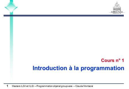 Cours n° 1 Introduction à la programmation