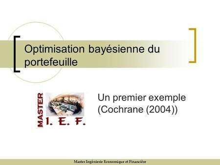 Optimisation bayésienne du portefeuille