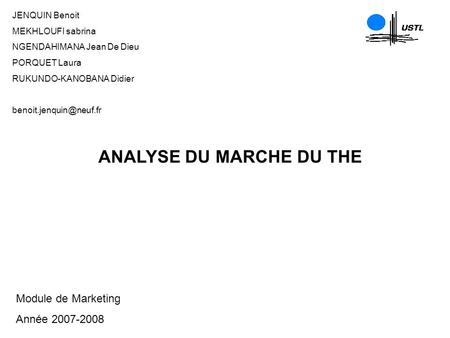 ANALYSE DU MARCHE DU THE
