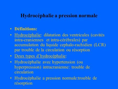 Hydrocéphalie a pression normale